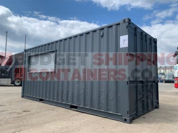 Small Galvanised Roller Shutter in a 20ft Shipping Container