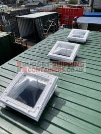 three skylights on shipping container