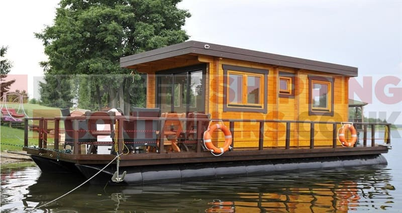 Shipping container pontoons for Boat house plans pictures