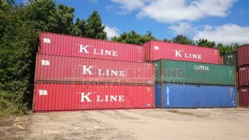 Stack of Used 40ft shipping containers for sale in our Birmingham depot