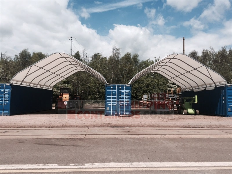 Shipping container pvc canopy 40ft 12m long x 8m wide for Tall shipping container