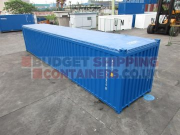 blue open top container