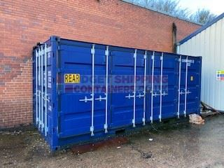 blue side opening container with doors closed